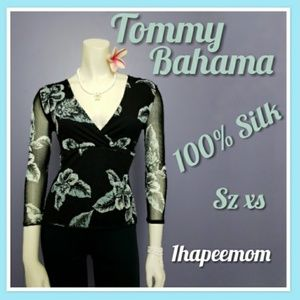 Tommy Bahama 100% Silk Blouse Hibiscus Print Top